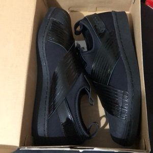Adidas Women's Superstar Slip On NEW Black/ Patent